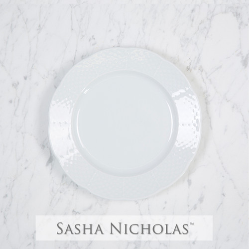 A beautiful addition to your dinnerware collection and to adorn your tablescapes with. It makes the perfect gift for your wedding registry and looks amazing layered with vintage dishes you inherit. Choose from their signature font styles or use a custom monogram or crest of your choice! | Sasha Nicholas‰Ûªs white porcelain weave salad plate