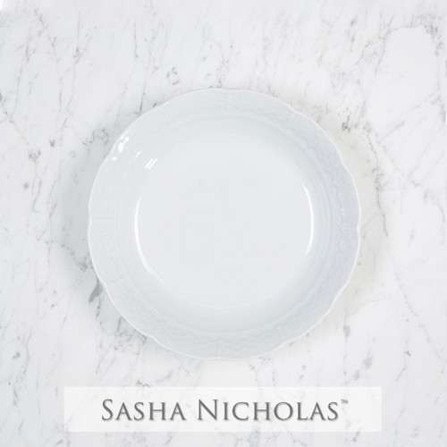 A beautiful addition to your dinnerware collection and to adorn your tablescapes with. It makes the perfect gift for your wedding registry. Choose from their signature font styles or use a custom monogram or crest of your choice! | Sasha Nicholas‰Ûªs white porcelain cereal bowl