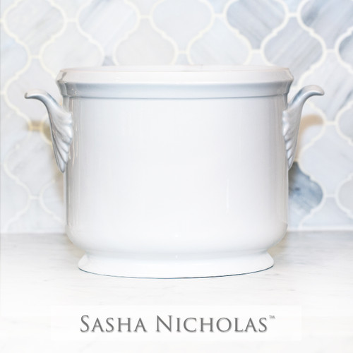 A beautiful addition to your dinnerware collection and to adorn your tablescapes with. It makes the perfect gift for your wedding registry with the included inscription on back. Choose from their signature font styles or use a custom monogram or crest of your choice! | Sasha Nicholas‰Ûªs white porcelain champagne bucket