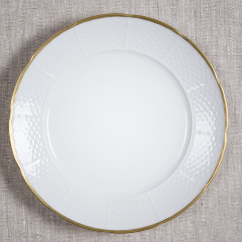 Sasha Nicholas dinner plate gold weave basketweave Monogram monogrammed custom inscription Wedding Bridal Gift Registry rim