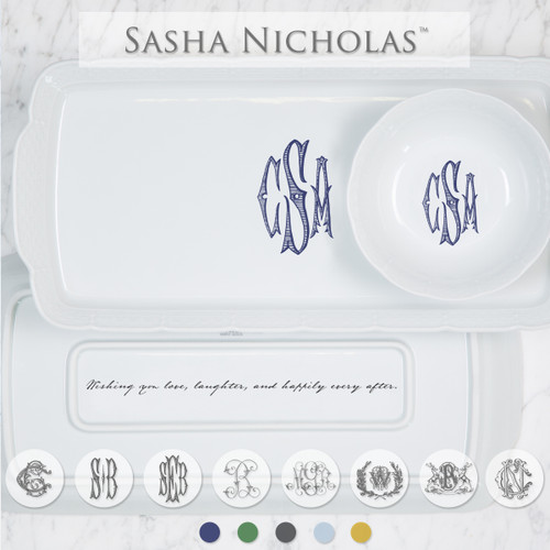 A beautiful addition to your dinnerware collection and to adorn your tablescapes with. It makes the perfect gift for your wedding registry with the included inscription on back of the platter. Choose from their signature font styles or use a custom monogram or crest of your choice! | Sasha Nicholas's white porcelain hostess platter and petite bowl