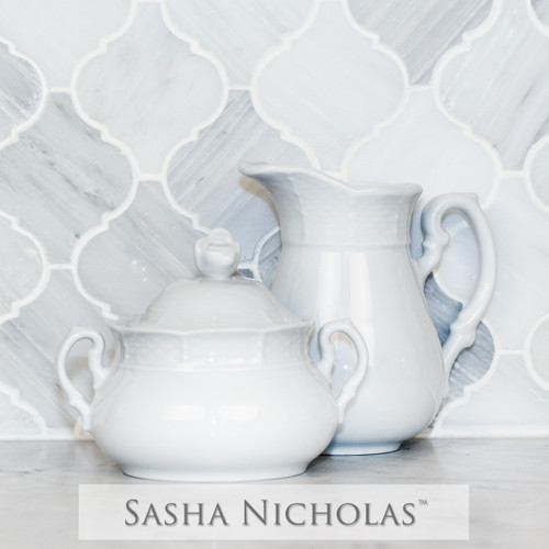 Sasha Nicholas European Porcelain Creamer Sugar Weave Basketweave Wedding Bridal Gift Registry Entertain Serveware White cream