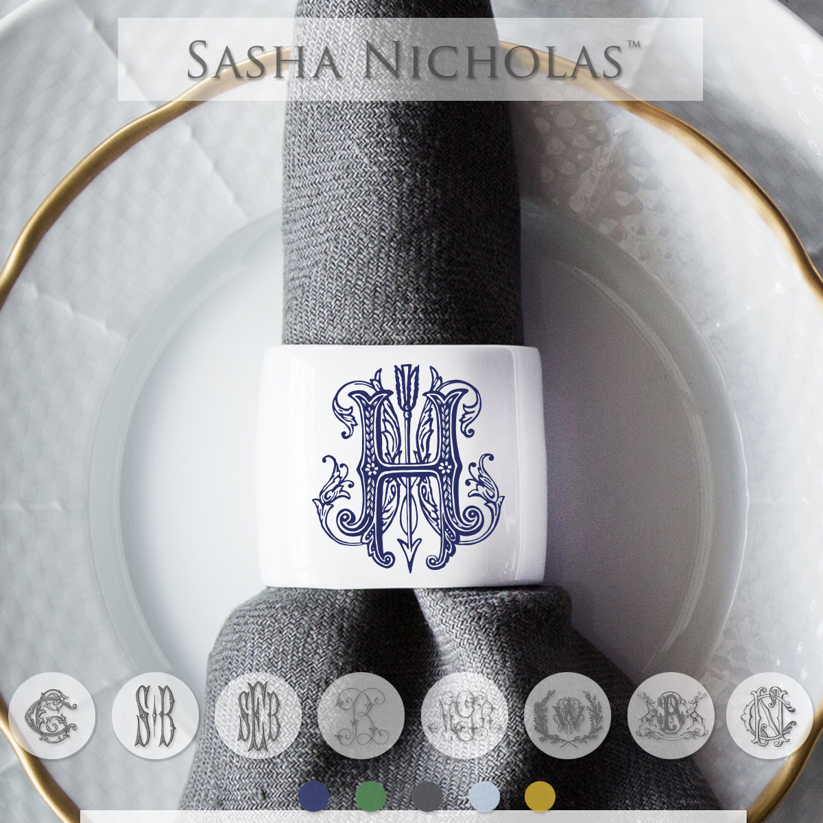 A beautiful addition to your dinnerware collection and to adorn your tablescapes with. It makes the perfect gift for your wedding or gift registry. Choose from their signature font styles or use a custom monogram or crest of your choice! | Sasha Nicholas's white porcelain oval napkin ring
