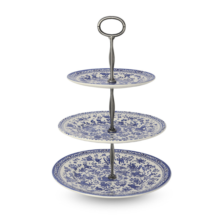 Burleigh Blue Regal Peacock 3 Tier Cake Stand (Gift Boxed)