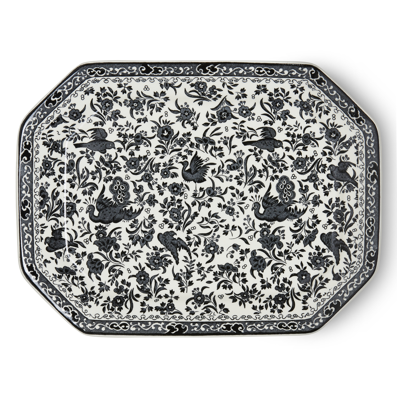 Burleigh Black Regal Peacock | Beautiful china dinnerware to adorn your tablescapes and add to your Sasha Nicholas wedding & gift registry