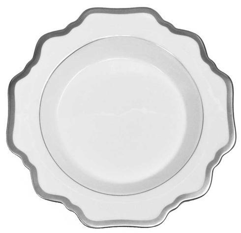 Antique White with Brushed Platinum Rim Soup Plate