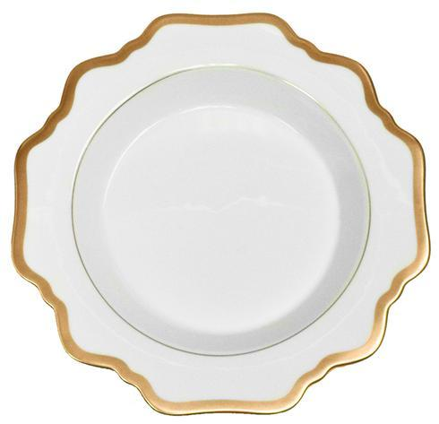 Antique White with Gold Rim Soup Plate