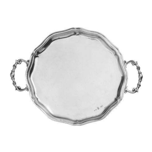 Vintage Pewter Scalloped Tray with Handles