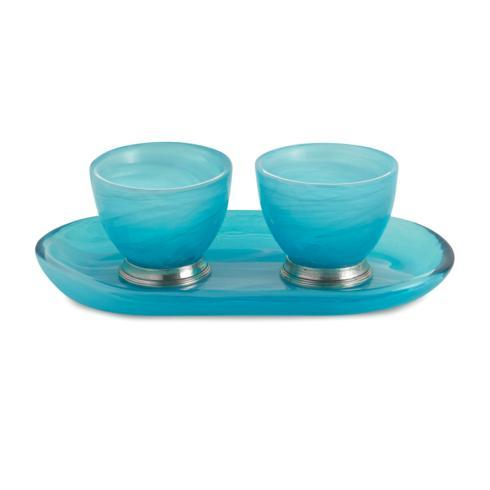 Volterra Aqua Oval Platter with Dipping Bowls