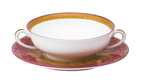 Dhara red Cream Soup saucer