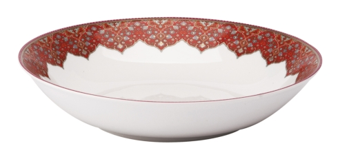 Dhara red Soup/Cereal Plate