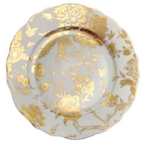 Jardin Secret White & Gold accent plate