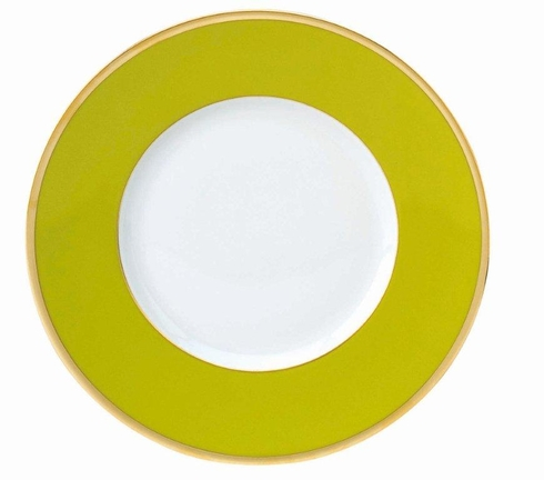 Les Indiennes gold filet Presentation Plate Anis Green