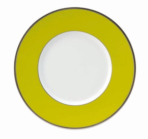 Les Indiennes platinum filet Presentation Plate Anis Green