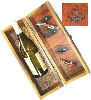 Table Knives & Forks Boat Wood Wine Box w/ Crokscrew&Stopper