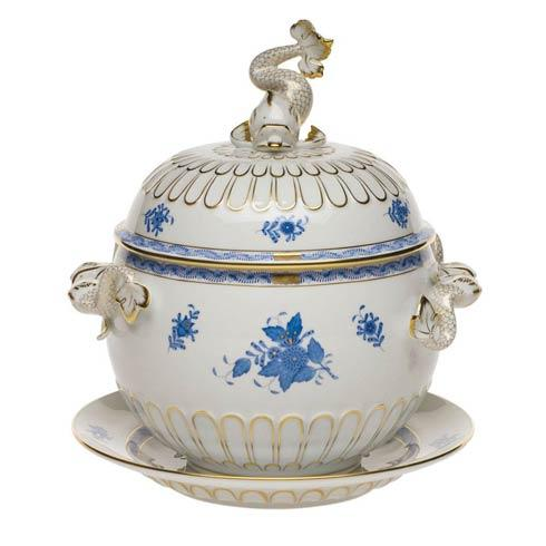 Chinese Bouquet Blue Tureen & Platter (4 Qt) 12.25