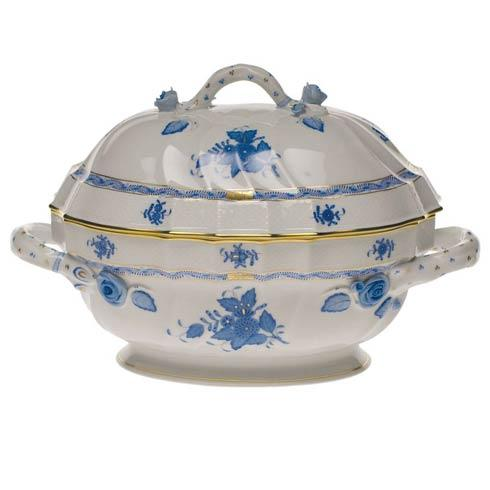 "Chinese Bouquet Blue Tureen W/Branch (2 Qt) 9.5"" H"