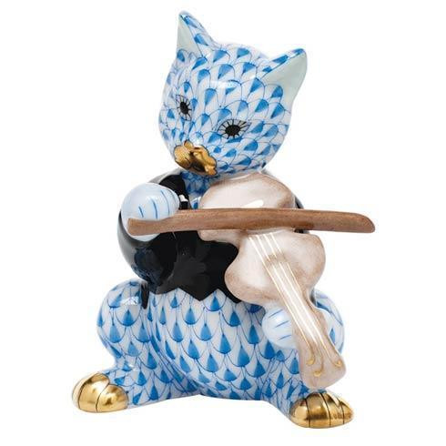 Cat with Fiddle - Blue
