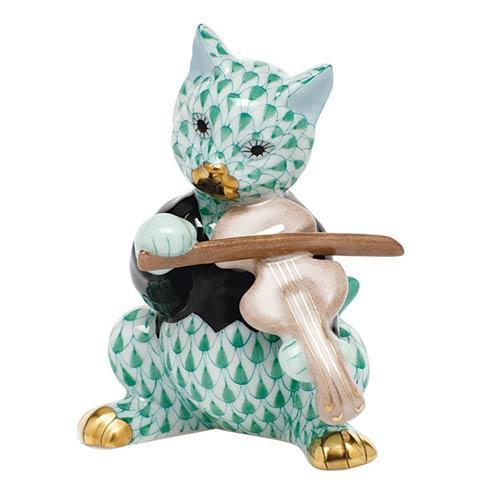 Cat with Fiddle - Green