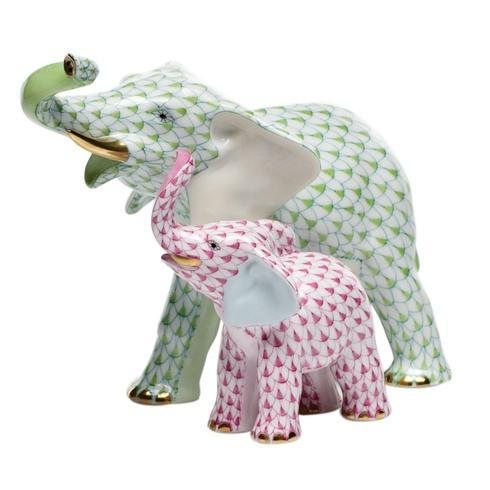 Elephants Mother & Baby Elephant - Lime + Raspberry