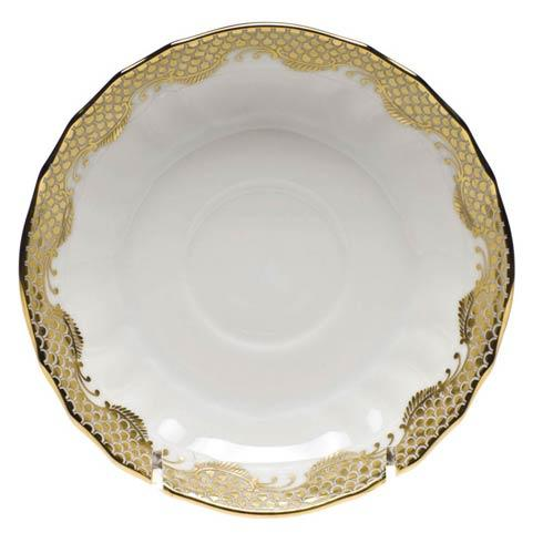 Fish Scale Gold Canton Saucer - Gold