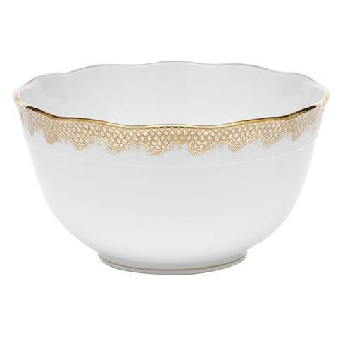 Fish Scale Gold Round Bowl - Gold