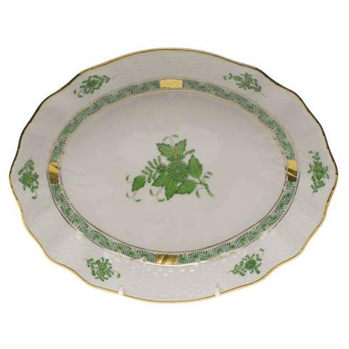 Chinese Bouquet Green Oval Dish