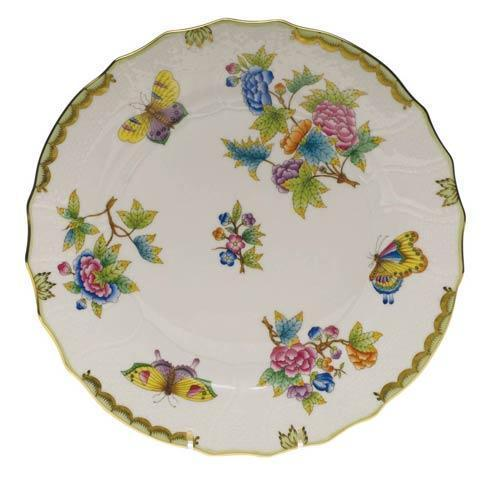 Queen Victoria Green Border Dinner Plate