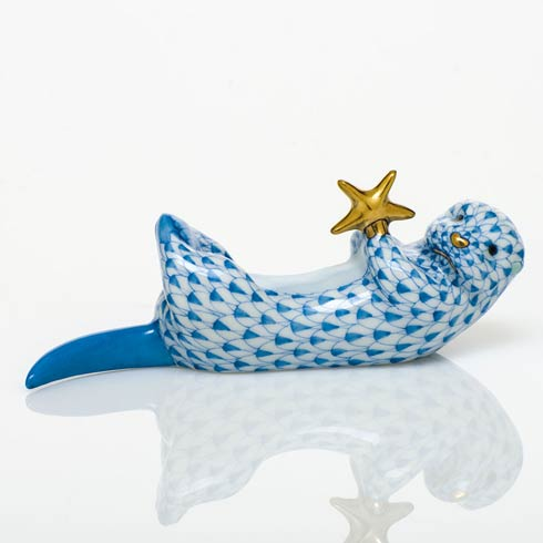Sea Otter with Starfish - Blue