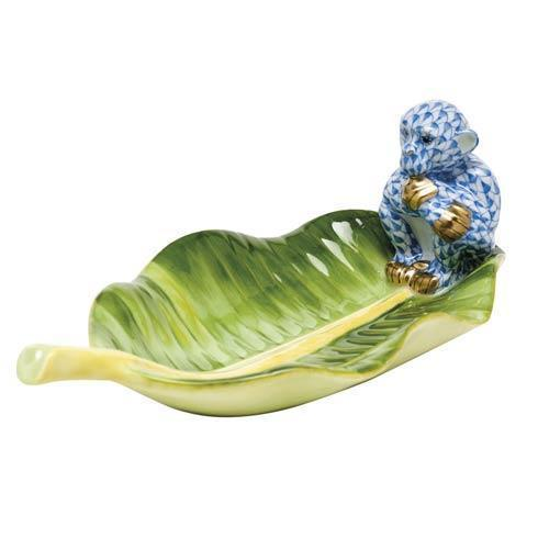 Monkey on Banana Leaf - Blue