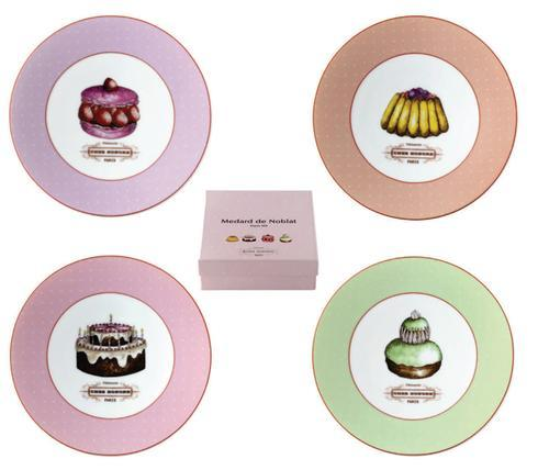 Chez Honore Gift Box Of 4 Assorted Cocktail Plates