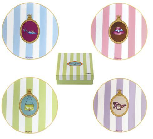 Shopping Gift Box Of 4 Assorted Cocktail Plates