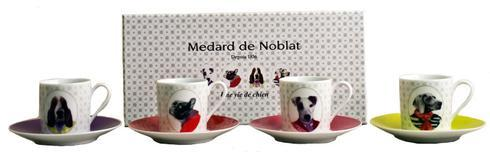 Une Vie De Chien Gift Box Of 4 Assorted Coffee Cups And Saucers