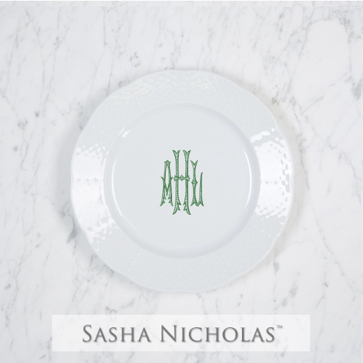A beautiful addition to your dinnerware collection and to adorn your tablescapes with. It makes the perfect gift for your wedding registry and looks amazing layered with vintage dishes you inherit. Choose from their signature font styles or use a custom monogram or crest of your choice! | Sasha Nicholas's white porcelain weave salad plate