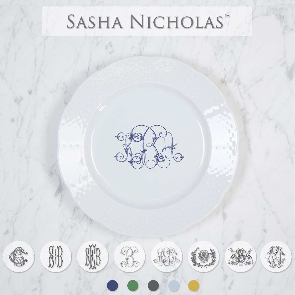 A beautiful addition to your dinnerware collection and to adorn your tablescapes with. It makes the perfect gift for your wedding registry and looks amazing layered with Royal Copenhagen. Choose from their signature font styles or use a custom monogram or crest of your choice! | Sasha Nicholas's white porcelain weave salad plate