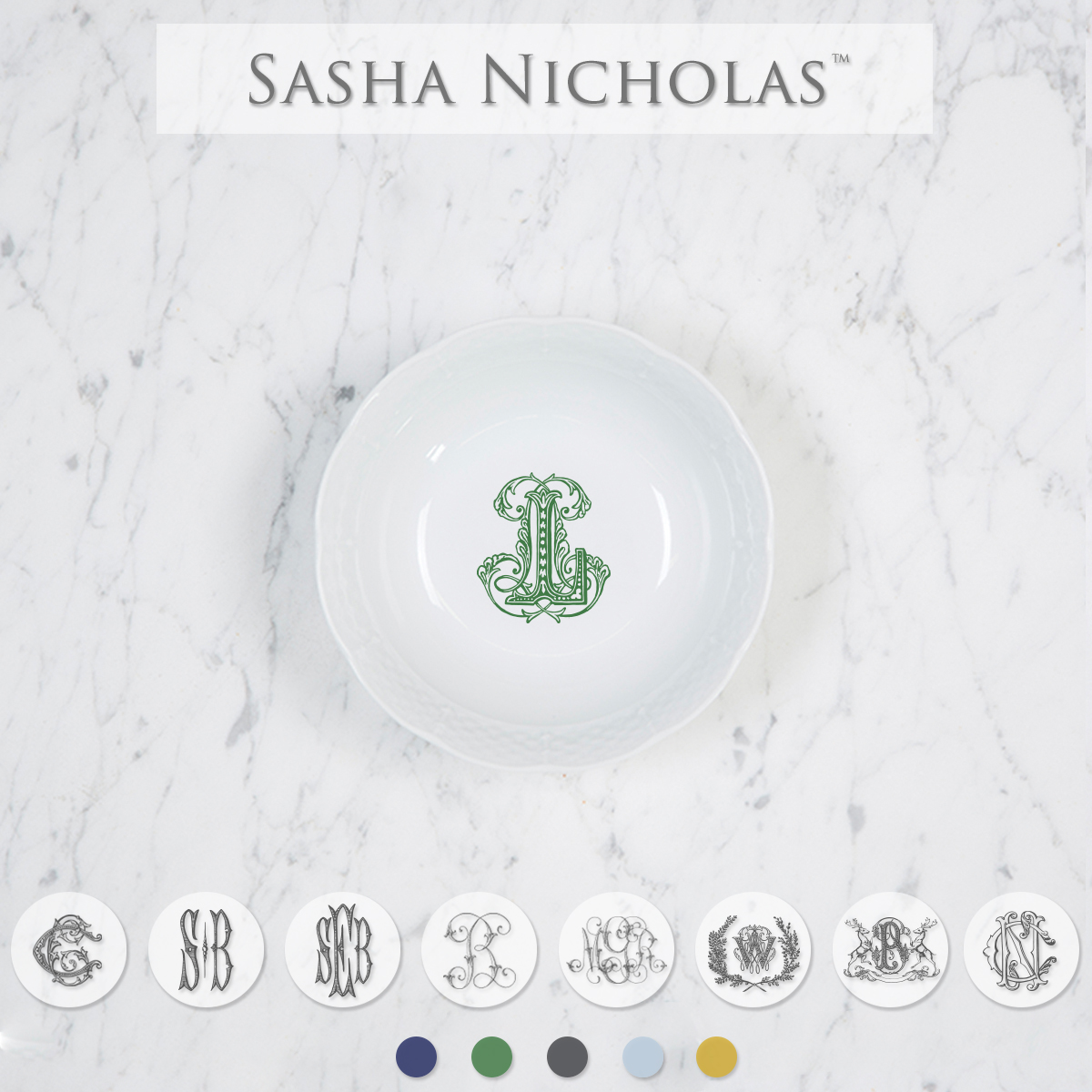A perfect addition to your dinnerware collection and to set your tablescapes with.  It makes a great small gift for your wedding registry. Choose from their signature font styles or use a custom monogram or crest of your choice. This custom monogram by Empress Stationary looks amazing paired with the classic green Herend. | Sasha Nicholas's white porcelain petite bowl