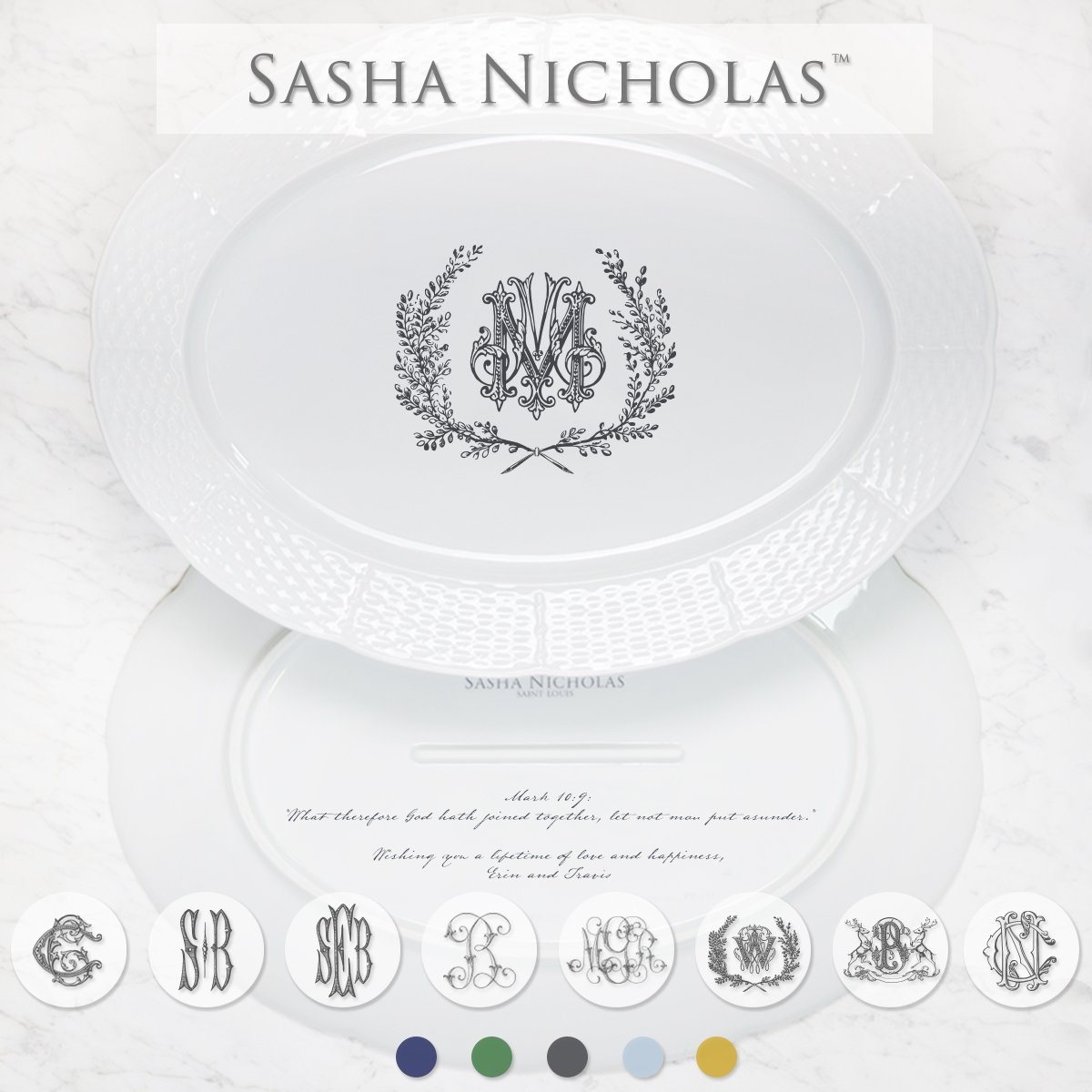 A beautiful addition to your dinnerware collection and to adorn your tablescapes with. It makes the perfect gift for your wedding registry with the included inscription on back. Choose from their signature font styles or use a custom monogram or crest of your choice! | Sasha Nicholas's white porcelain oval platter