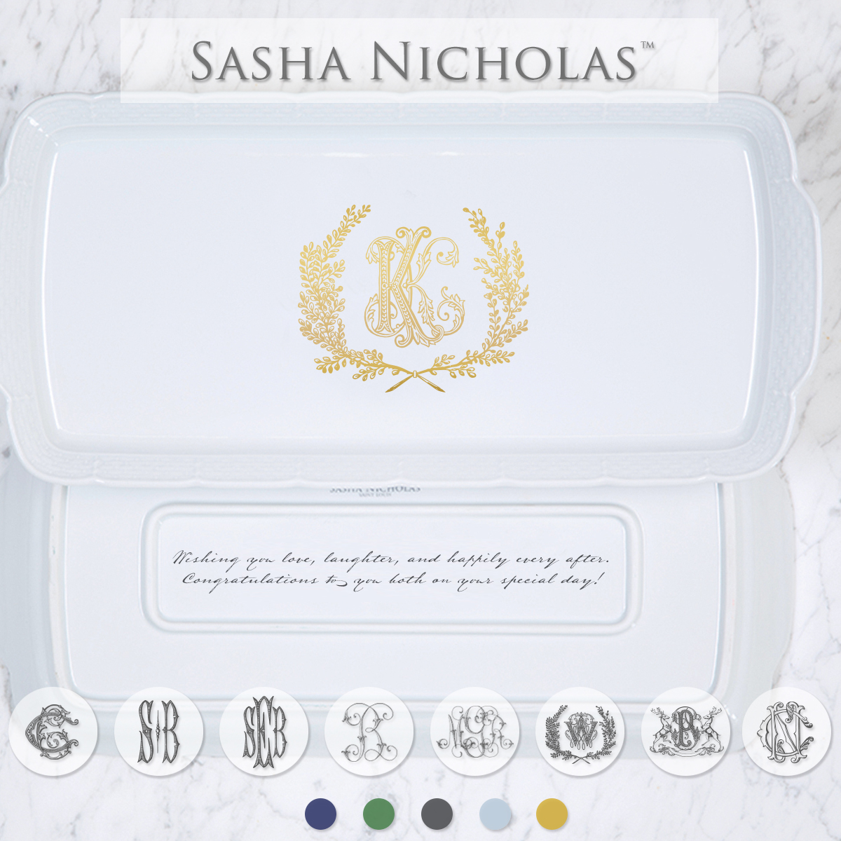 A beautiful addition to your dinnerware collection and to adorn your tablescapes with. It makes the perfect gift for your wedding registry with the included inscription on back. Choose from their signature font styles or use a custom monogram or crest of your choice! | Sasha Nicholas's white porcelain hostess platter