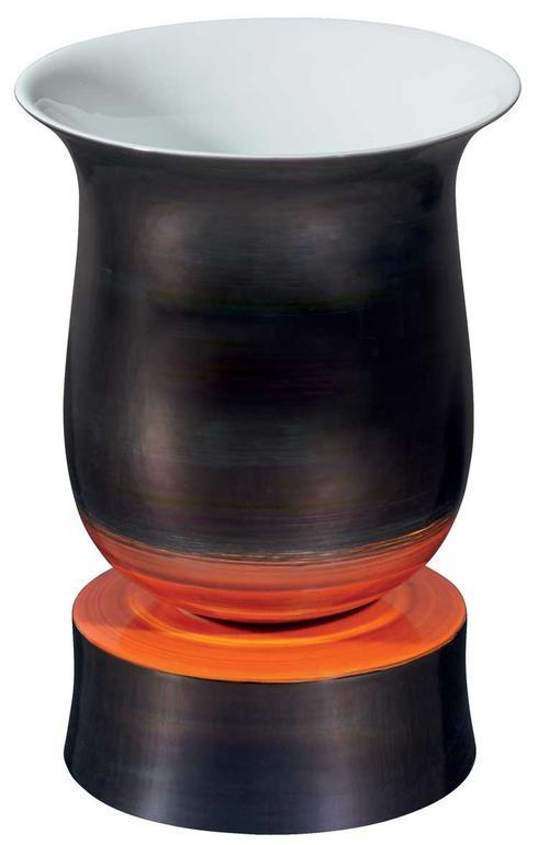 Satin Black and Red Footed Vase