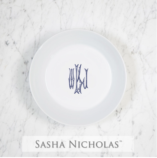 Sasha Nicholas Coup Contemporary Porcelain  Imagine Navy BowlDish Monogram monogrammed custom  Wedding Bridal Gift Registry