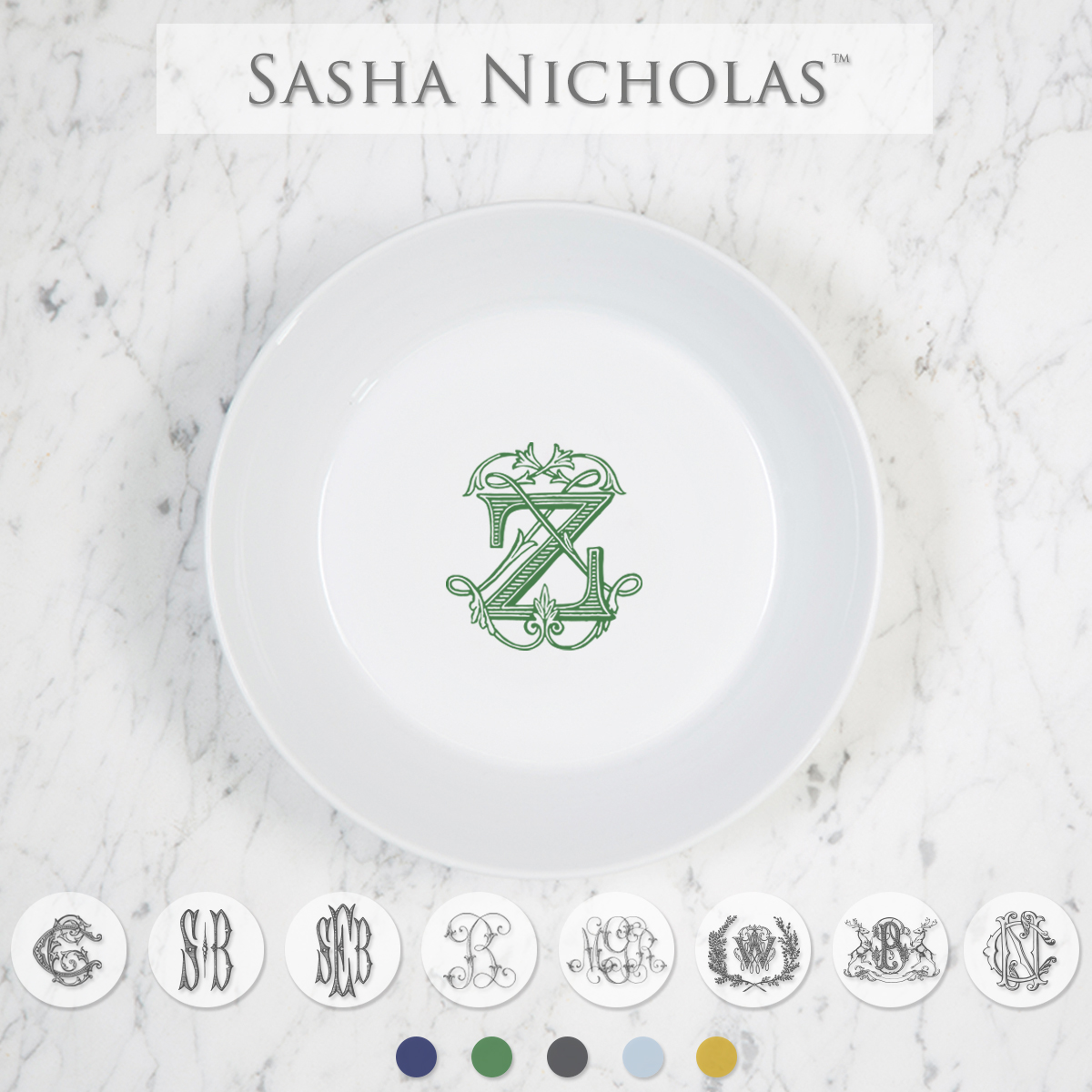 Sasha Nicholas Coup Contemporary Porcelain  Imagine Navy Bowl Dish Monogram monogrammed custom  Wedding Bridal Gift Registry
