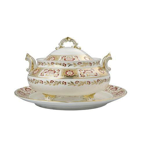 Derby Panel Red Soup Tureen Stand
