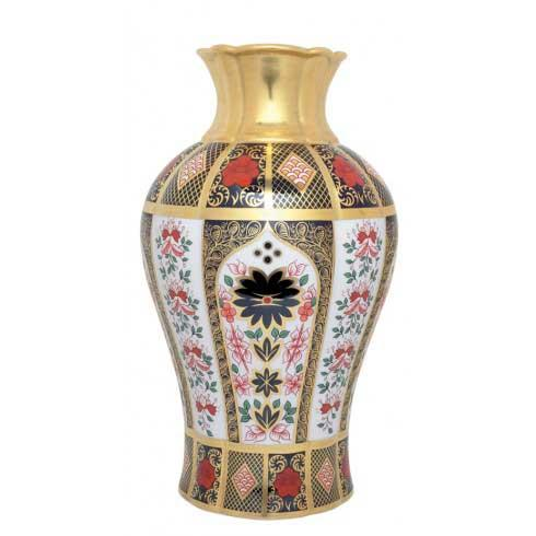 Old Imari Solid Gold Band Gift Boxed Arum Lily Vase