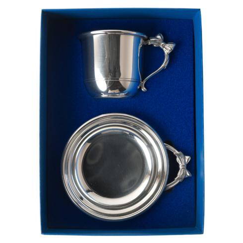 Pewter Baby Bow Handle Porringer & Cup Gift Set