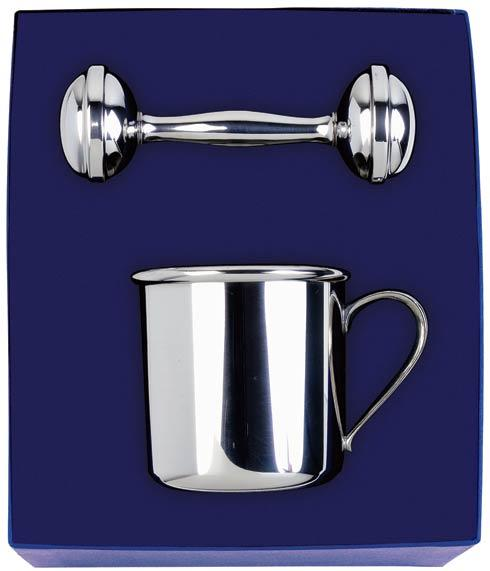 Pewter Baby Straight Baby Cup & Rattle Gift Set