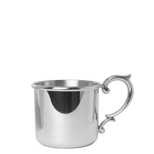 Pewter Baby Straight Baby Cup with Scroll Handle 5oz.
