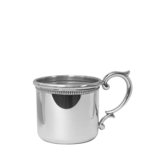 Pewter Baby Straight Baby Cup with Scroll Handle and Beading