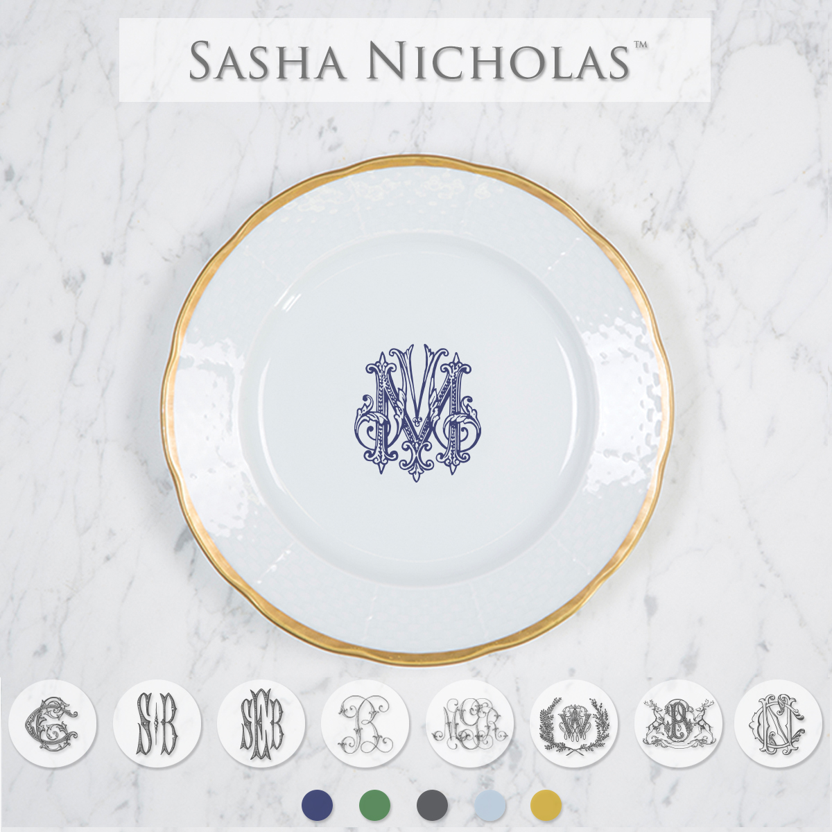 A beautiful addition to your dinnerware collection and to adorn your tablescapes with. It makes the perfect gift for your wedding registry and looks amazing layered with vintage dishes you inherit. Choose from their signature font styles or use a custom monogram or crest of your choice! The 24K gold rim is quite stunning. | Sasha Nicholas's white porcelain 24K gold weave salad plate