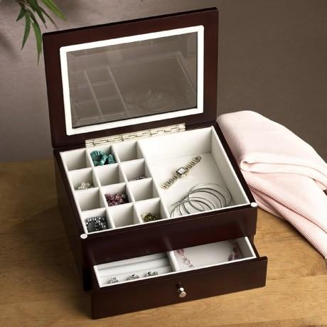 Flatware And Jewelry Storage Jewelry Box W Drawer Wndw Mahogany 6in Sasha Nicholas