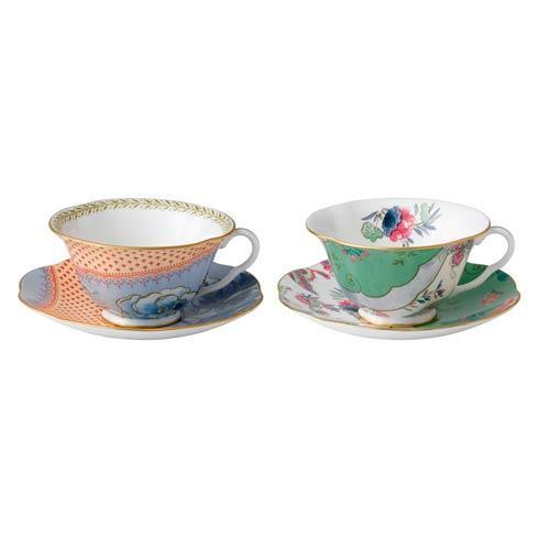 Butterfly Bloom Teacup & Saucer Set/2 Blue Peony & Butterfly Posy
